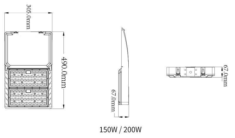 Product size of Hi-Talent 150 Watt LED Parking Light