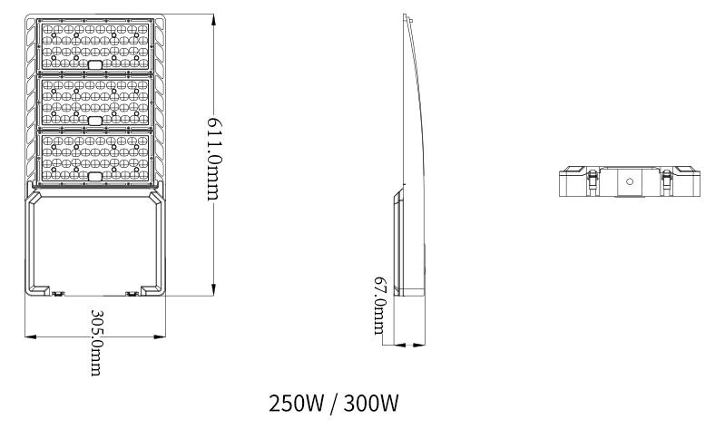 Product size of 250 Watt LED Sports Light