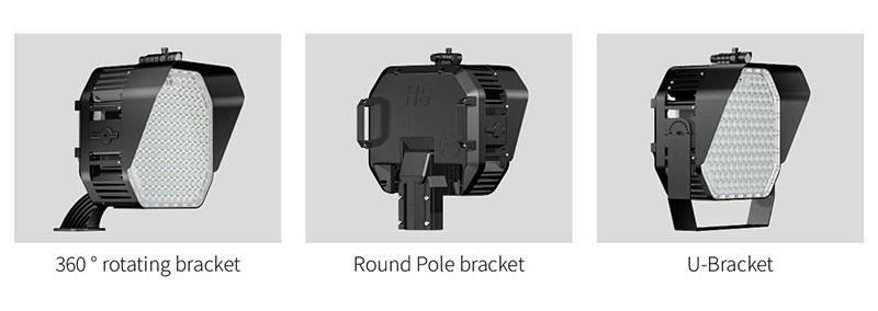 Various mounting brackets:360 ° rotating bracket, round pole bracket, U-Bracket