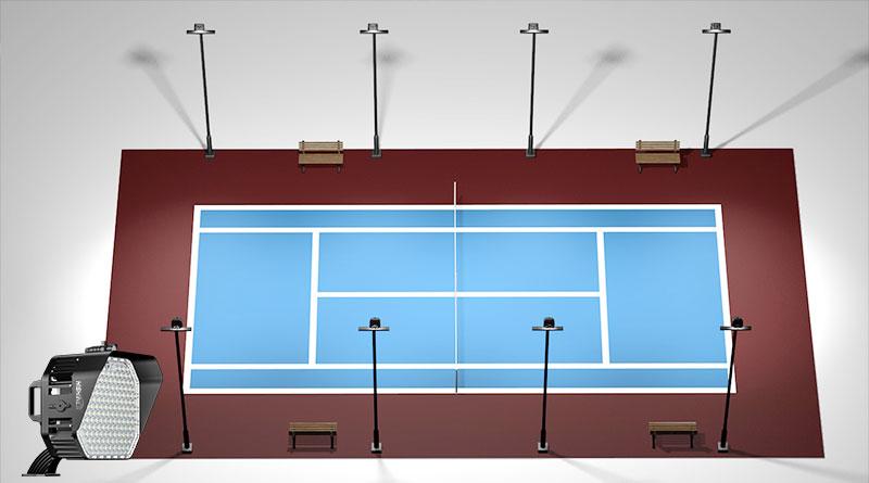 Standard tennis court lighting layout plan