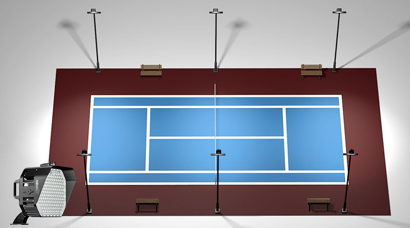 Economical tennis court lighting layout plan
