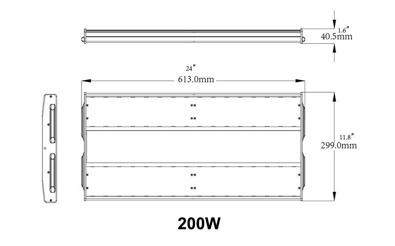 200W K5-B LED linear high bay light  dimension