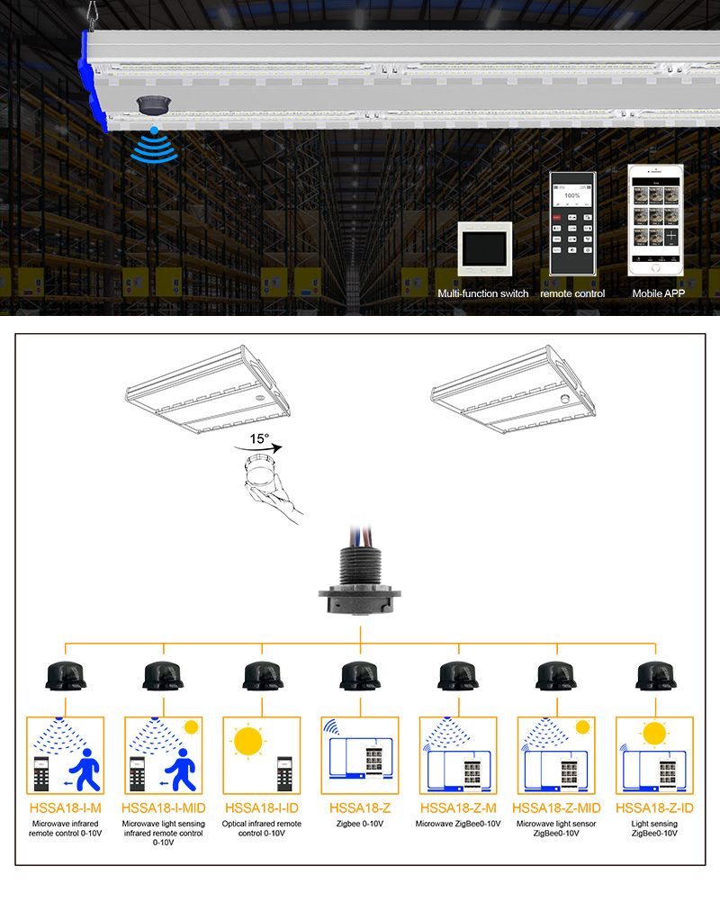 500W LED Linear Warehouse Light Intelligent control option