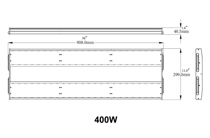 500W LED Linear Warehouse Light dimension