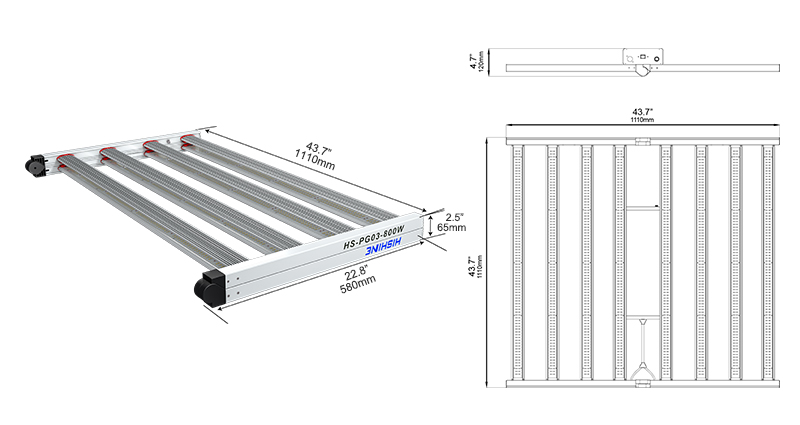 PG03 800W LED Grow Light Specifications