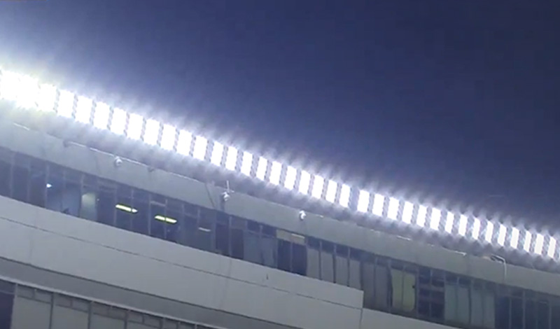 LED lamp acting on the football field