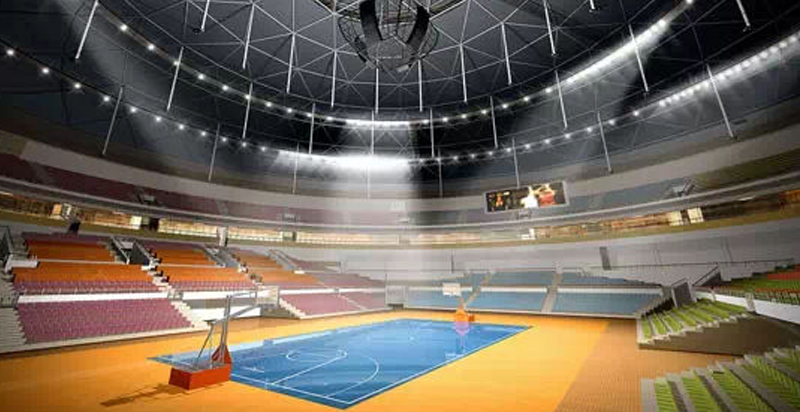 Basketball court lighting method